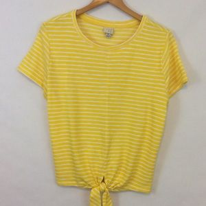 A New Day Yellow and White Stripe Tie Front Top